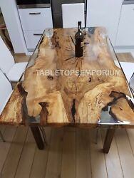Clear Resin Wooden Handmade Center Dine Table Top Collectible Furniture Décor