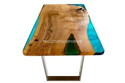Handmade Epoxy Resin River Wooden Dine Sofa Counter Table Top Royal Furniture
