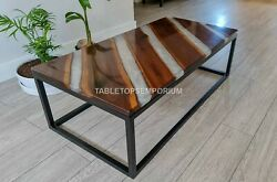 Clear Resin Wooden Lining Design Handmade Collectible Dine Sofa Table Top Decor
