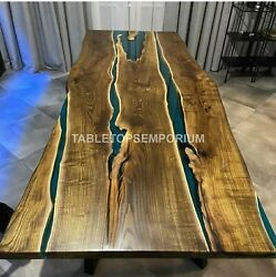 Living Room Coffee Table And Dining Table. Epoxy Blue Resin Office Meeting Table