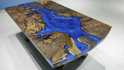 Epoxy Resin Table, Blue River Table Epoxy Inlay Burl Acacia Wood, Resin Tables