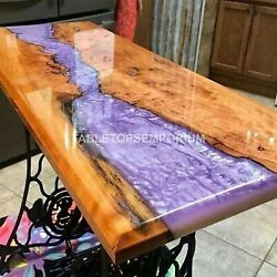 Coffee Table, Resin-wood, Olive Wood Pink Resin River Wooden Handmade Furniture
