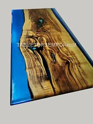 Epoxy Resin Blue River Live Edge Style Dinning Coffee Table Top {thickness 35mm}