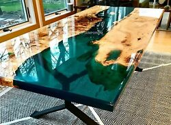 Green Deep Resin Table  living Room Acacia Epoxy Coffee Table can Be Customized