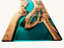 Customized Epoxy Resin Green River Dinning Table Top Acacia Wood Style Decors
