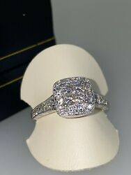 Gold And Diamond Cushion Shaped Cluster Ring In Illusion Setting By Michael Hill