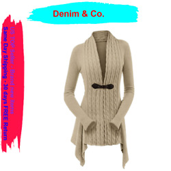 Denim And Co.cable Knit Long-sleeve Cardigan With Buckle Closure,mocha Heather,xx