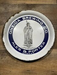 Vtg Oneida Brewing Co Ale And Porter Skenandoah Chief Utica Ny Porcelain Beer Tray