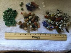 Lot Of Vintage Glassagate And Porcelain Beads