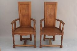 Pair 1910 Armchairs Oak Wood Fits Arts And Crafts Craftsman Home Dining 8009