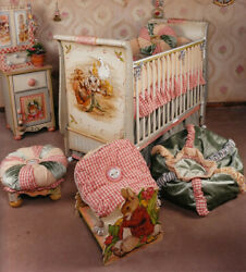 Plenty's Horn Hand Painted Baby Furniture Set Crib, Changing Table, Armoire