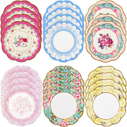 Talking Tables Truly Scrumptious Vintage Floral Small 6.75 Paper Plates In 6 Des