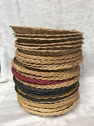 24 Vintage Wicker Rattan Paper Plate Holders Camping Picnic Cook Out Party