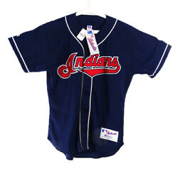 Vintage Mlb Cleveland Indians Jersey W/ American Flag Size 48 W/ Chief Wahoo