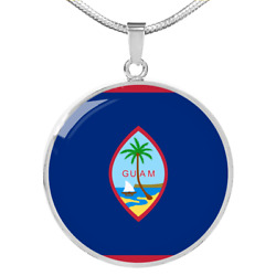 Guam Flag Necklace Circle Pendant Stainless Steel Or 18k Gold 18-22
