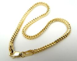 Real 10k Yellow Gold Hollow Franco Box Link Bracelet 1.8mm 8inch Lobster Clasp