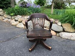 Antique Globe-wernicke Bankers Chair Desk Chair Swivel Chair Rolling Chair