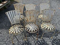 Francois Carre Starburst Vintage Metal Painted Patio Chairs As Is Set 6