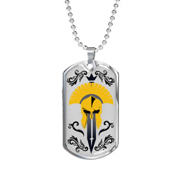 Gladiator Helmet And Sword Necklace Stainless Steel Or 18k Gold Dog Tag W 24 Ch