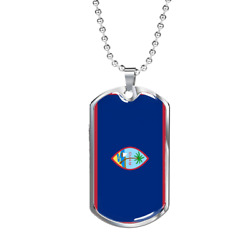 Guam Flag Necklace Stainless Steel Or 18k Gold Dog Tag 24 Chain