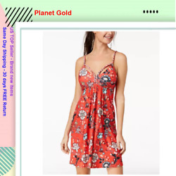 Planet Gold Juniorsand039 Printed Braided-detail Dress Red Combo Class Small