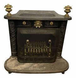 19th Century Neoclassical Cast Iron Franklin Wood Stove