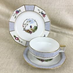 Limoges Porcelain Breakfast Teacup And Saucer Trio Bandco Vintage French China