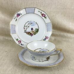 Limoges Porcelain Teacup And Saucer Trio Bandco Vintage French China