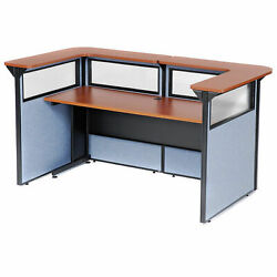 88 W X 44d X 44h U-shaped Reception Station With Window Cherry Counter/blue