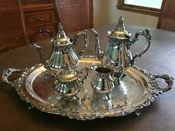 Wallace Baroque Silverplate 5 Pc. Vintage Coffee And Tea Service With Butler Tray
