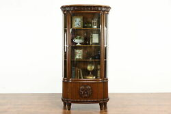 German Antique Carved Oak Curved Glass China Display Or Curio Cabinet 37806