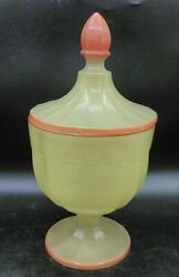 Rare Art Deco Monroe Glass Candy Dish W/ 3 Compartments Yellow And Orange 1920's