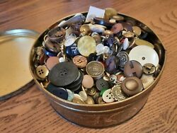 Vintage Grandma's Canco Tin With 5 Pounds Of Vtg Buttons Metal Bakelite Wood