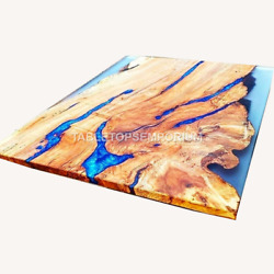 Ocean Resin Wooden Epoxy Dining Top Table Collectible Handmade Royal Furniture