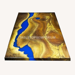 Wooden Epoxy Blue Resin River Dining Customize Table Top Handmade Furniture Deco
