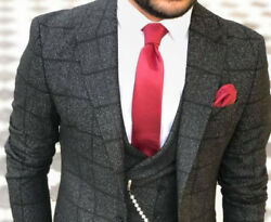 Designer Business Grey Black Checkered Suit Jacket Trousers Pants Vest Fitted