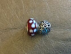 Pandora Murano Glass Red Hearts S925 Ale And Unbranded Silver Swirl Charms