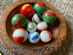Vintage Transitional Marbles/collectible Marbles Old Boulders Lot Of 10 1