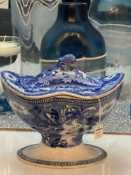18th Century Chinese Blue And White Chamfered Tureen African Themed