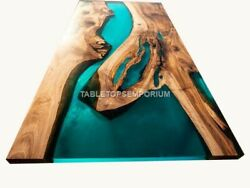 Green Resin River Dining Center Conference Top Table Wooden Working Furniture
