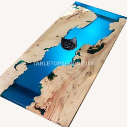 Blue Resin River Dining Center Top Table Handmade Interior Decorative Furniture