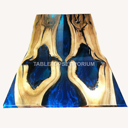 Blue Resin River Dining Handmade Corridor Top Table Wood Working Furniture Décor