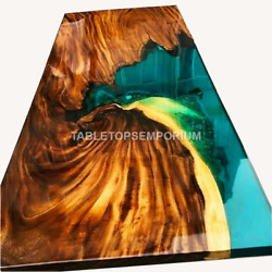 Green Resin River Dining Conference Top Handmade Table Royal Interior Home Décor