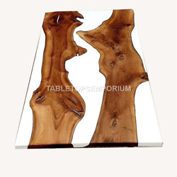 White Resin River Wooden Working Center Top Table Handmade Decorative Furniture