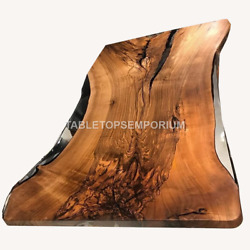 Clear Resin River Wooden Transparent Table Top Handmade Dining Custom Furniture