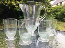 Lalique Jug Pitcher And 4 Tumblers Signed R. Lalique France Art Glass Fish Bands