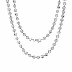 10k White Gold Solid Mens 4mm Moon Diamond Cut Ball Bead Chain Necklace 18- 30