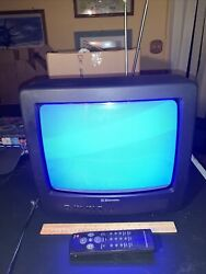 Vintage 1997 Emerson Et-14j2, 13 Tv Color, With Remote And Antenna