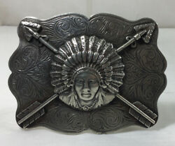 Marko D. Martin Hand Made Sterling Silver Indian Chief Belt Buckle