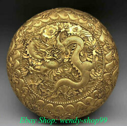 4 Old Chinese Copper 24k Gold Gilt Dynasty Dragon Bead Jewelry Box Jewel Case